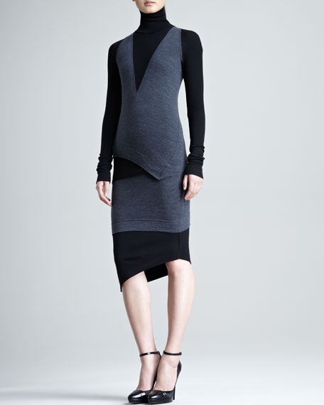 Wool Melange Layered Skirt
