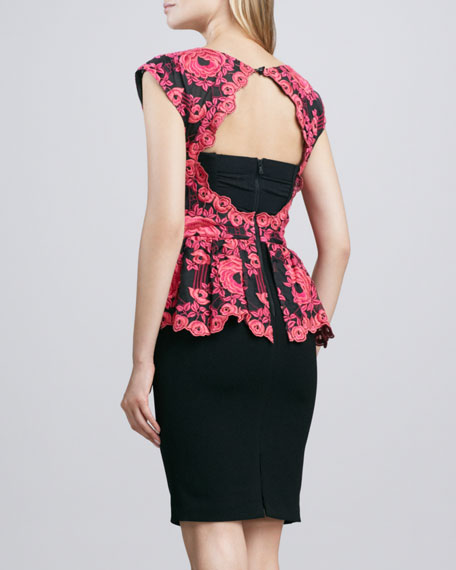 Shovan Lace-Print Peplum Dress