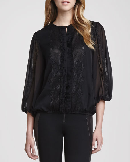 Cass Peasant-Sleeve Blouse