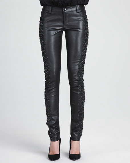 Embroidered-Panel Leather Pants
