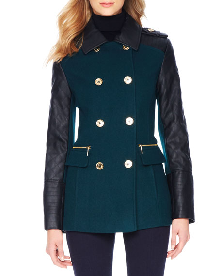 Faux-Leather-Sleeve Wool Coat