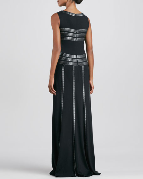 Sleeveless Gown with Ribbon Striping