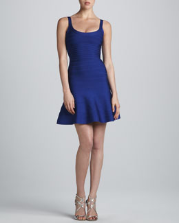 Herve Leger Flare-Skirt Bandage Dress