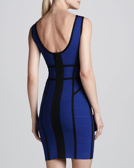 Contrast-Stripe Scoop-Back Bandage Dress