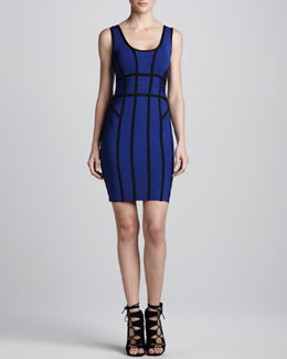 Herve Leger Contrast-Stripe Scoop-Back Bandage Dress