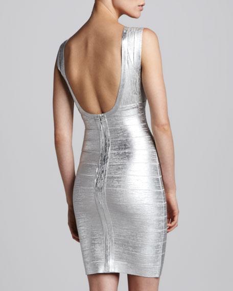 Combo V-Neck Bandage Dress, Silver
