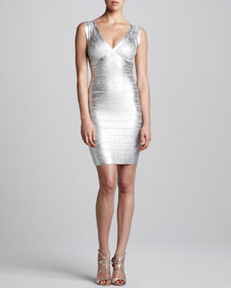 Herve Leger Combo V-Neck Bandage Dress, Silver