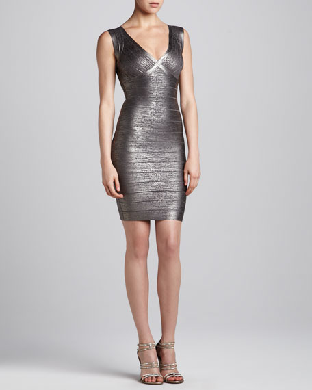 Metallic V-Neck Bandage Dress