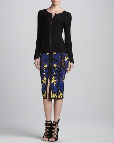 Printed Front-Zip Skirt