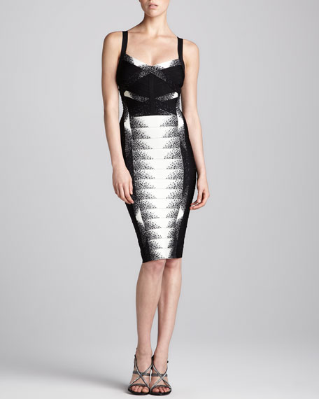 Sleeveless Beaded & Printed Bandage Dress