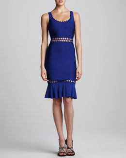 Herve Leger Ruffle-Hem Cutout Bandage Dress