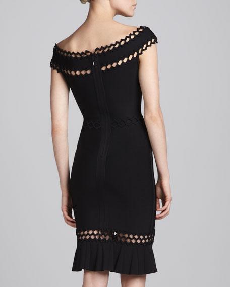 Cutout-Trim Off-Shoulder Bandage Dress
