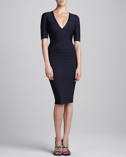 Herve Leger Half-Sleeve V-Neck Bandage Dress