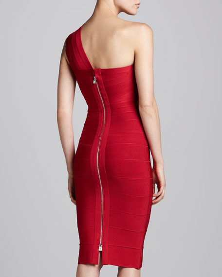 Herve Leger One-Shoulder Below-Knee Bandage Dress