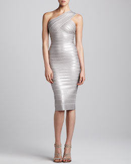 Herve Leger One-Shoulder Sequined Dress