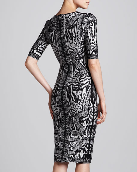 Combo Printed Half-Sleeve Dress