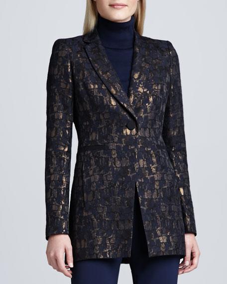 Dannette Metallic One-Button Jacket