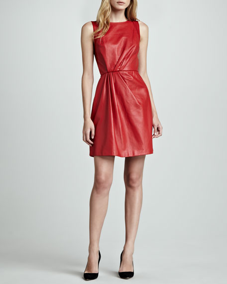 Organza-Back Leather Sleeveless Dress