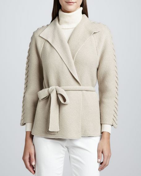 Cashmere Belted Long-Sleeve Cardigan