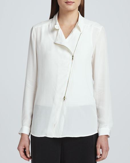 Silk Zip-Front Moto Jacket, Petite
