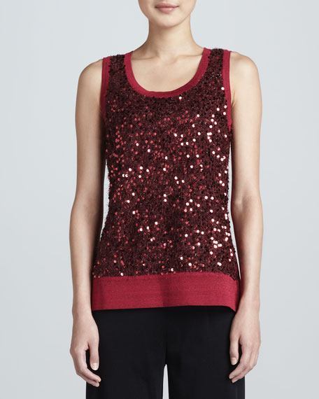 Sequined Metallic Knit Tank, Petite