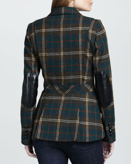 Hunting Plaid Elbow-Patch Blazer