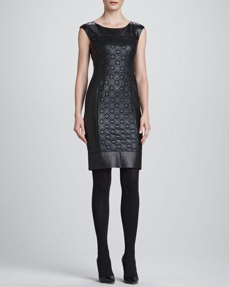 Lambskin Cutout Sheath Dress