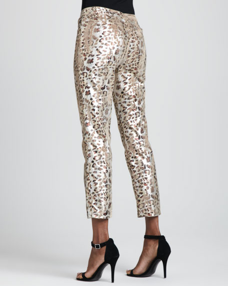 Foiled Cheetah-Print Ankle Jeans