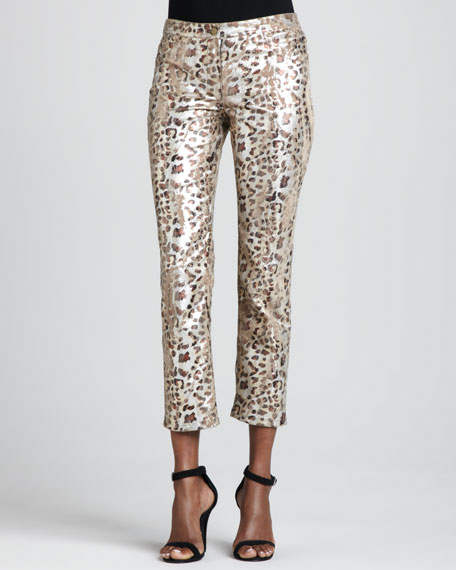 Foiled Cheetah-Print Ankle Jeans, Women's