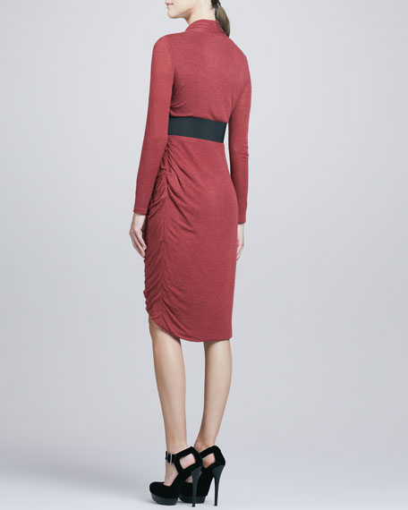 Front-Wrap Jersey Dress, Rust