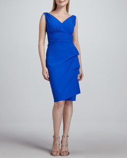 La Petite Robe di Chiara Boni Becky Gathered Jersey Cocktail Dress, Cobalt