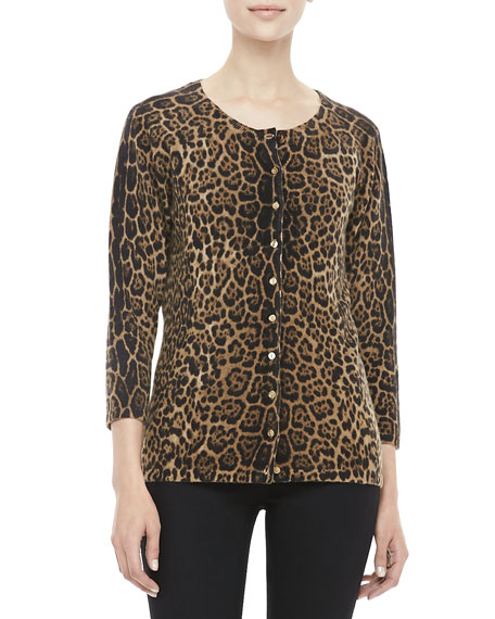 Leopard-Print Cashmere Cardigan