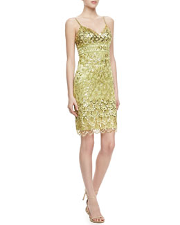 Sue Wong Spaghetti Strap Beaded Dress