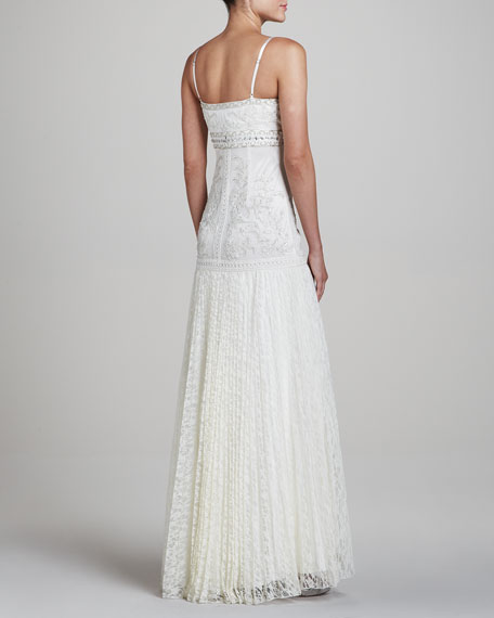 Spaghetti-Strap Gown with Lace Skirt