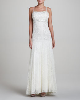 Sue Wong Spaghetti-Strap Gown with Lace Skirt