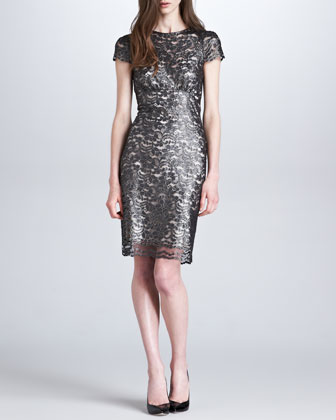 Metallic Lace Short-Sleeve Dress