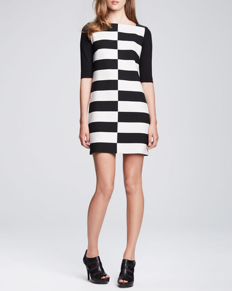 Shifted-Stripe Jersey Dress