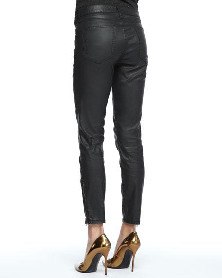 Soho Coated-Denim Stiletto Pants, Black