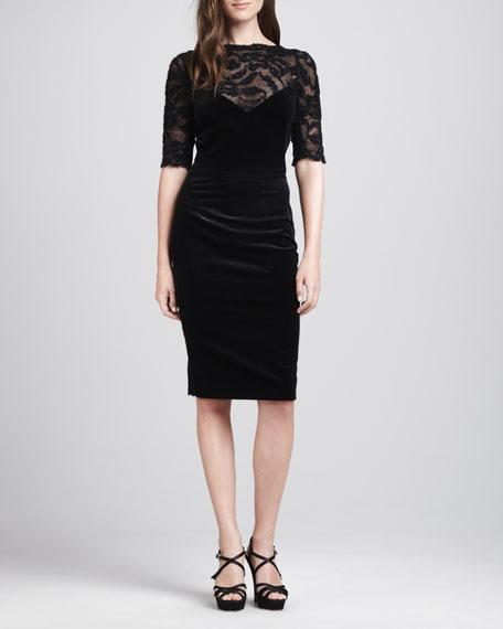 Mesh-Top Velvet Dress