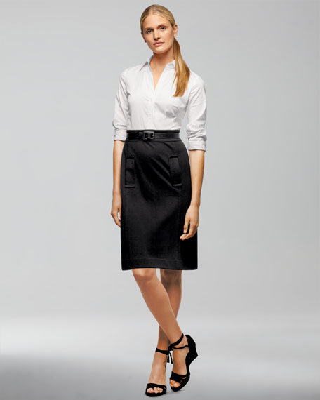 Stretch Cotton & Ponte Dress