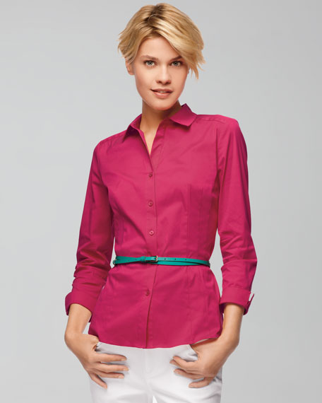 Janessa Button-Front Stretch Blouse