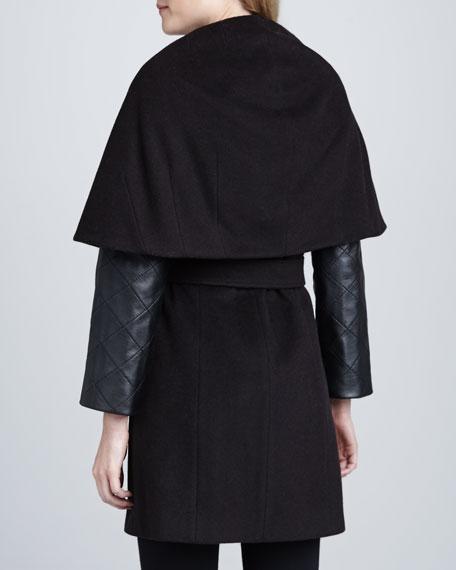 Marla Leather-Sleeve Coat