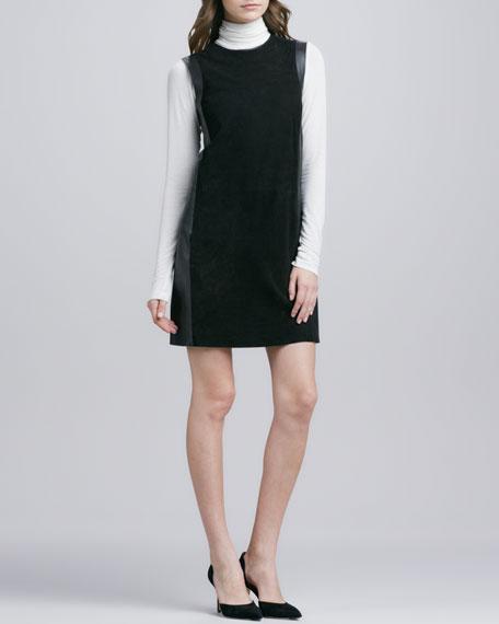 Leather-Framed Suede Dress, Black