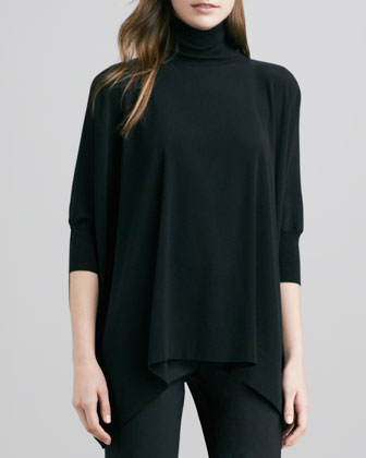 Turtleneck Poncho, Black