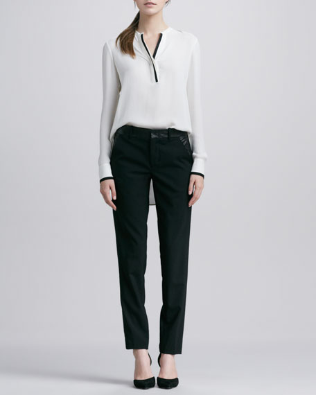 Sidestepping Leather-Banded Trousers, Black