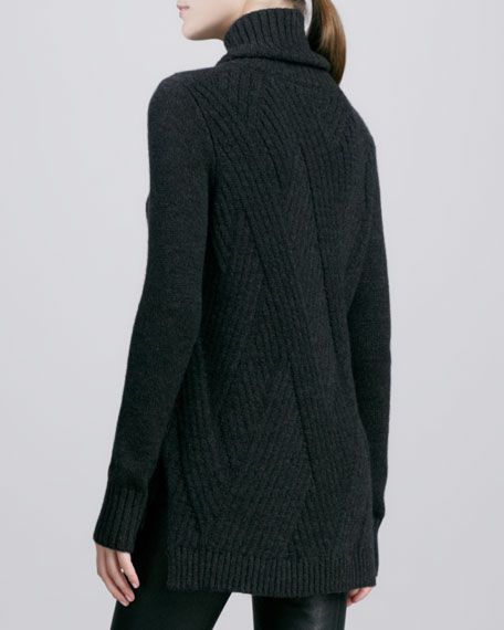 Traveling Rib-Knit Turtleneck, Carbon