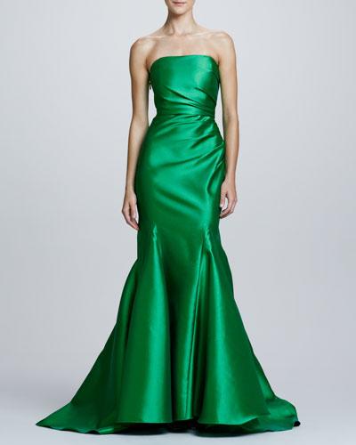 Badgley Mischka Ruch-Side Strapless Mermaid Gown