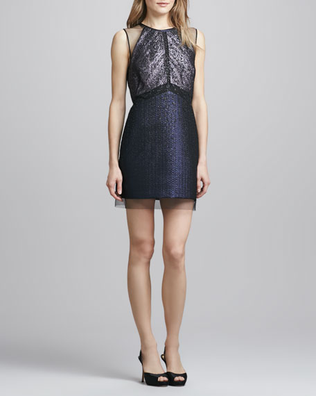 Phoebe Couture Sleeveless Jacquard & Lace Cocktail Dress