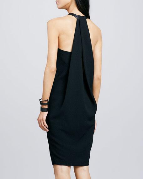 Leather-Neck Crepe Dress