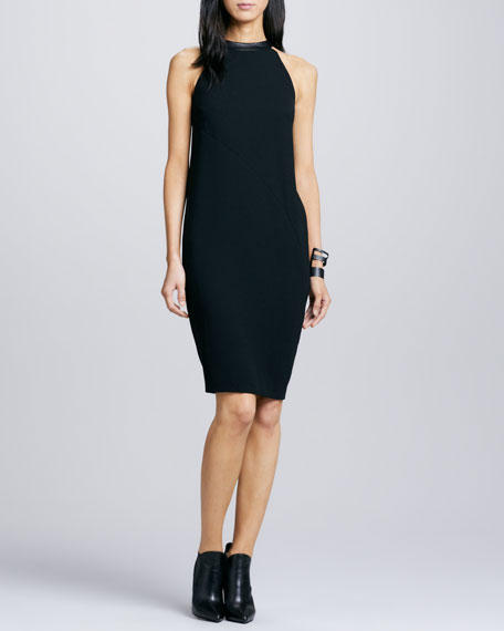 Leather-Neck Crepe Dress
